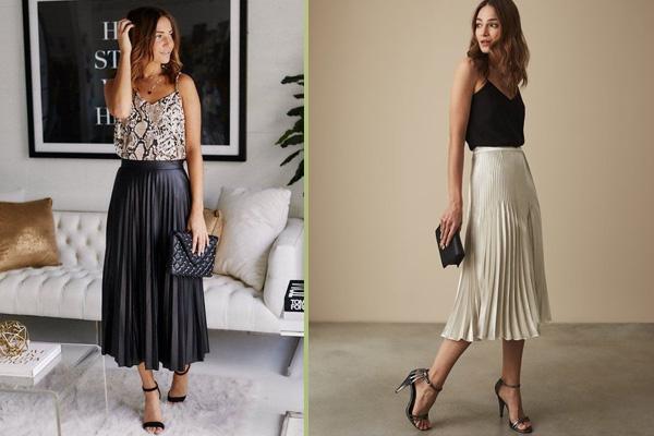 Phối áo hai dây với chân váy xếp ly dài