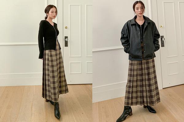 Phối áo khoác da với chân váy xòe dài