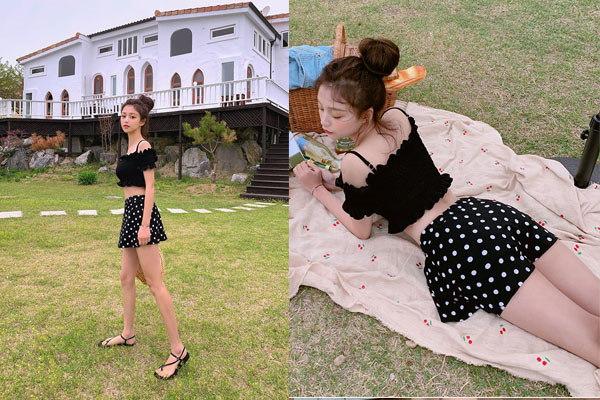 Mix chân váy xòe ngắn và áo croptop