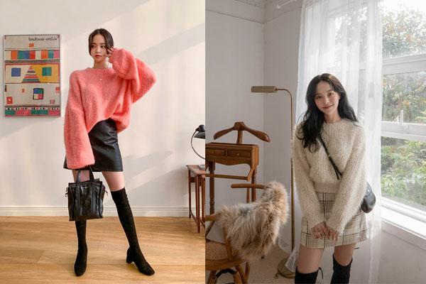 Phối áo len dày dặn cùng chân váy ngắn ôm cho mùa thu đông