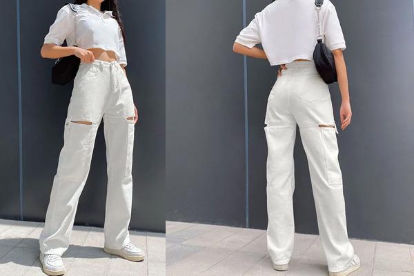 Phối áo croptop và quần cùng tone màu