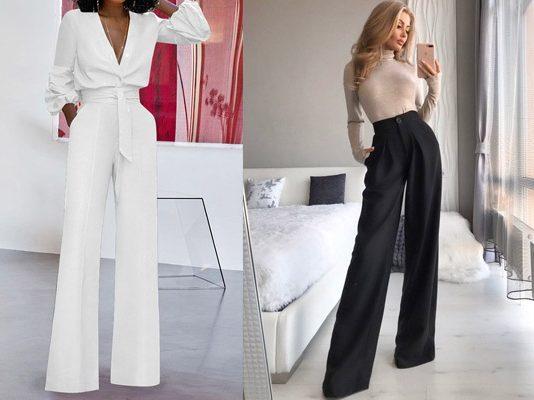 cách phối áo với quần ống rộng