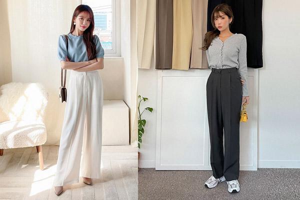 Phối áo len và quần ống rộng