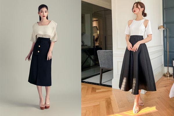 áo cách điệu và chân váy đen