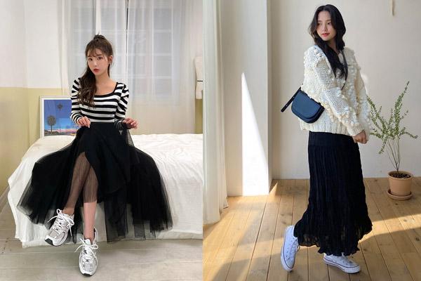 Phối áo len tay dài cùng với chân váy dáng dài