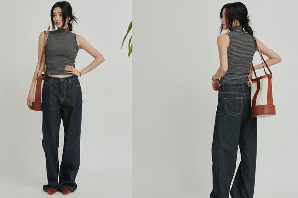 Mix áo thun cổ lọ, ba lỗ cùng quần jean ống rộng