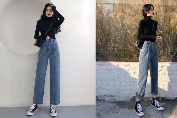 Phối jeans ống rộng cùng với giày sneakers cá tính