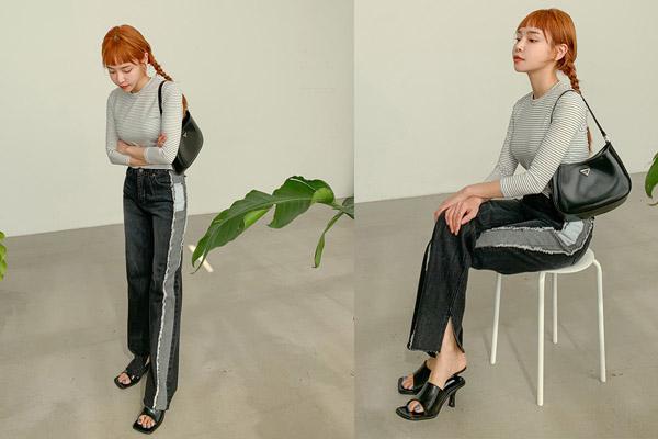 Mix quần jean ống rộng với dép cao gót