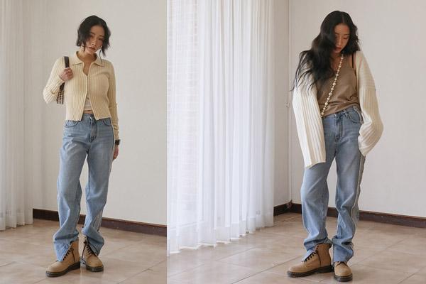 Mix quần jean ống rộng phối với boots đế bằng