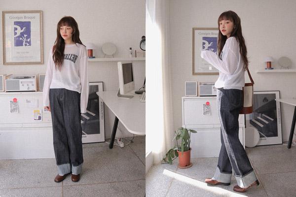 Quần jean ống rộng phối với giày búp bê mũi vuông