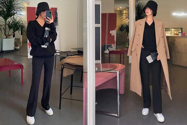 Phối quần ống loe đen mặc với áo len cùng màu