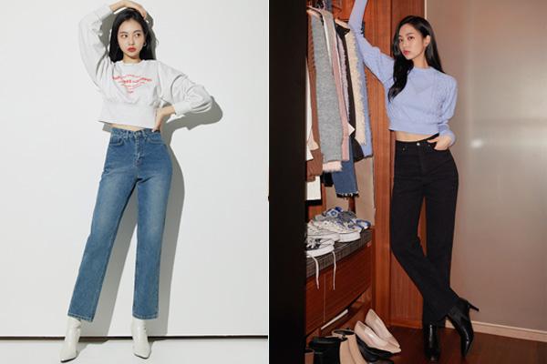 Áo croptop phối với quần jean ống suông