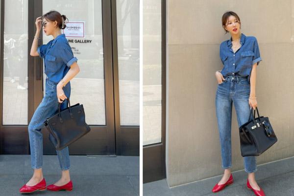 Mix áo demin và quần jean